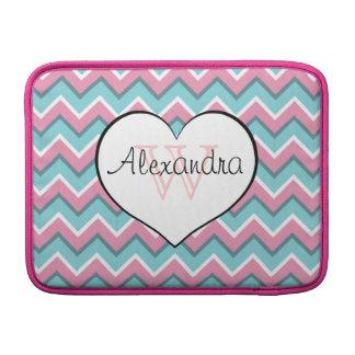 hot pink and aqua blue zigzag pattern monogram MacBook sleeve