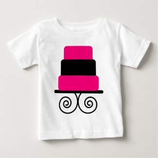 Hot Pink and Black 3 Tier Cake Baby T-Shirt