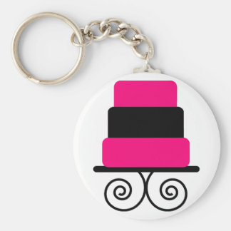 Hot Pink and Black 3 Tier Cake Basic Round Button Key Ring