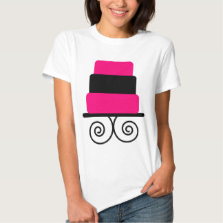Hot Pink and Black 3 Tier Cake T Shirt