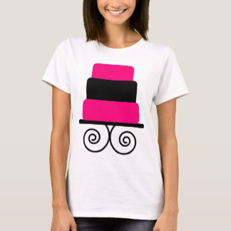 Hot Pink and Black 3 Tier Cake T-Shirt
