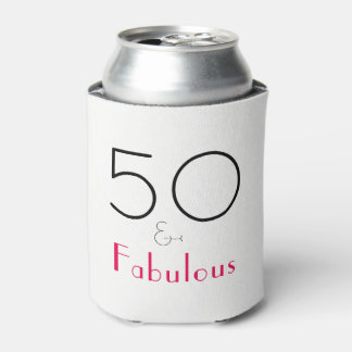 Hot Pink and Black 50 and Fabulous Can Cooler