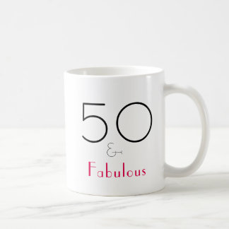 Hot Pink and Black 50 and Fabulous Mug