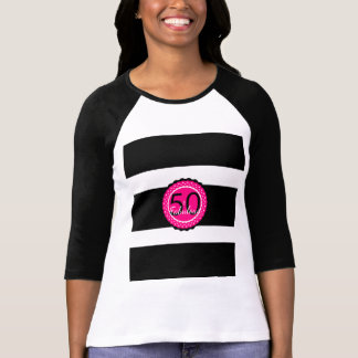 Hot Pink and Black 50 & Fabulous Birthday Gift T-Shirt