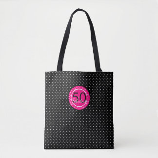 Hot Pink and Black 50 & Fabulous Birthday Gift Tote Bag