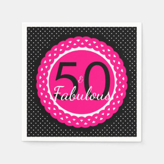 Hot Pink and Black 50 & Fabulous Birthday Party Disposable Serviette