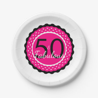 Hot Pink and Black 50 & Fabulous Birthday Party Paper Plate