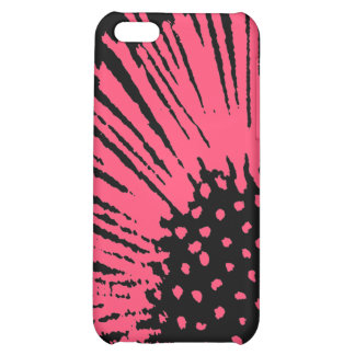 Hot Pink and Black Abstract Flower Case For iPhone 5C