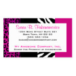 Hot Pink and Black Animal Print Zebra and Leopard Pack Of Standard Business Cards