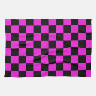 Hot Pink and Black Checkerboard Pattern Tea Towel