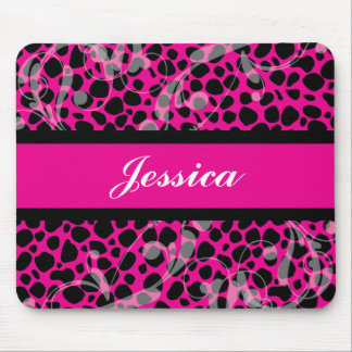 Hot Pink and Black Cheetah pattern Mouse Mat