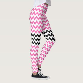 Hot Pink and Black Chevron by Shirley Taylor Leggings