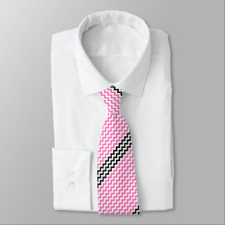 Hot Pink And Black Chevron by Shirley Taylor Tie