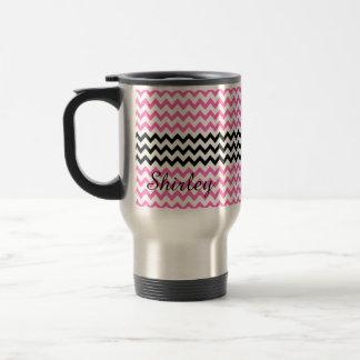 Hot Pink and Black Chevron by Shirley Taylor Travel Mug