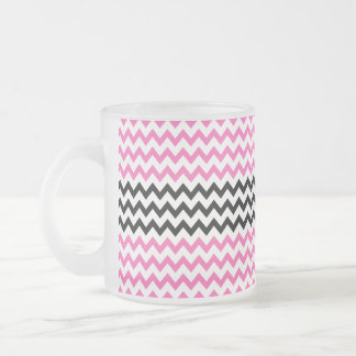 Hot Pink And Black Chevron Frosted Glass Mug