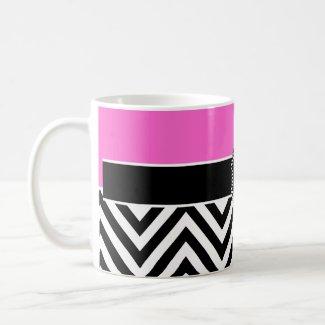 Hot Pink and Black Chevron Monogram Mug