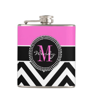 Hot Pink and Black Chevron Monogram Hip Flask