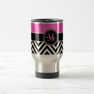 Hot Pink and Black Chevron Monogram Stainless Steel Travel Mug