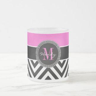 Hot Pink and Black Chevron Monogram Coffee Mugs