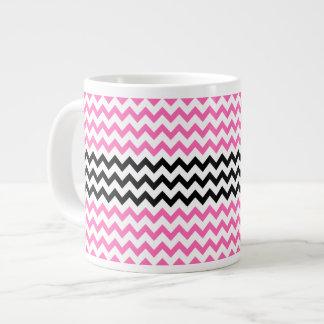 Hot Pink And Black Chevron Jumbo Mug