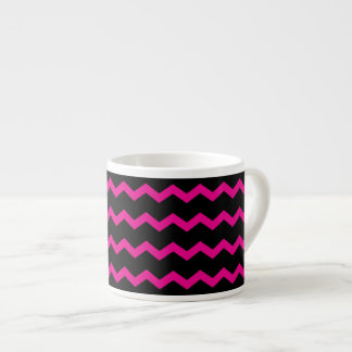 Hot Pink and Black Chevron Zigzag Espresso Mug