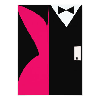 Hot Pink and Black Cocktail Dress Dinner Party Card