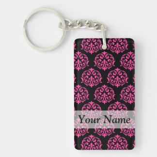 Hot pink and black damask Double-Sided rectangular acrylic key ring