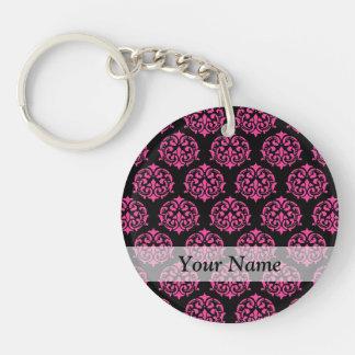 Hot pink and black damask Double-Sided round acrylic key ring