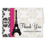 HOT PINK AND BLACK DAMASK EIFFEL TOWER THANK YOU NOTE CARD