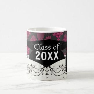 hot pink and black damask graduation basic white mug