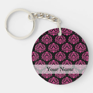 Hot pink and black damask key chains