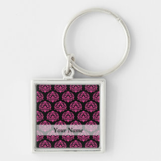 Hot pink and black damask keychain
