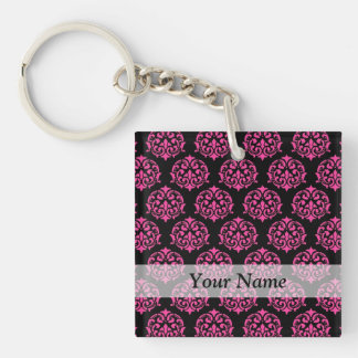 Hot pink and black damask Single-Sided square acrylic keychain
