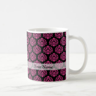 Hot pink and black damask mugs