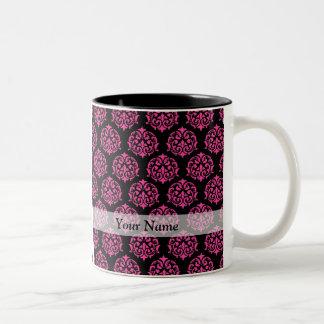 Hot pink and black damask coffee mug
