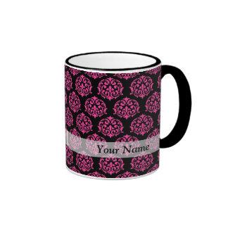 Hot pink and black damask mug