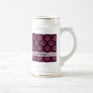 Hot pink and black damask coffee mugs