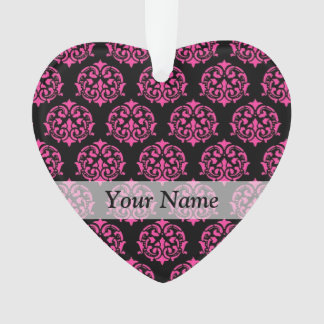 Hot pink and black damask ornament