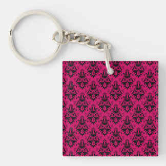 Hot Pink and Black Damask Pattern Acrylic Keychains
