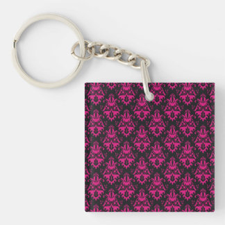 Hot Pink and Black Damask Pattern Square Acrylic Key Chain