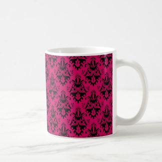 Hot Pink and Black Damask Pattern Coffee Mug