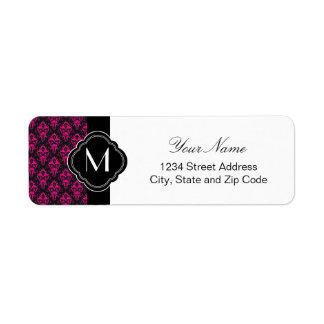 Hot Pink and Black Damask Pattern Return Address Label