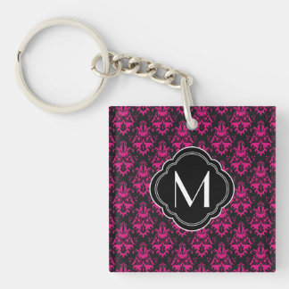 Hot Pink and Black Damask Pattern with Monogram Double-Sided Square Acrylic Key Ring