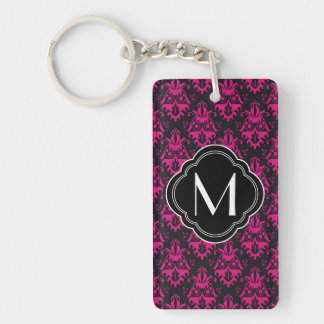 Hot Pink and Black Damask Pattern with Monogram Rectangle Acrylic Key Chains