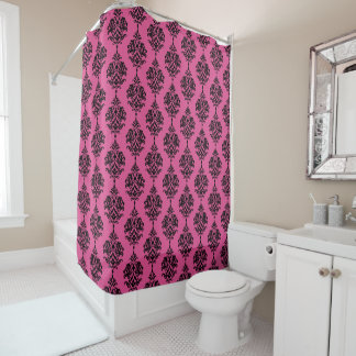 Hot Pink and Black Damask Shower Curtain