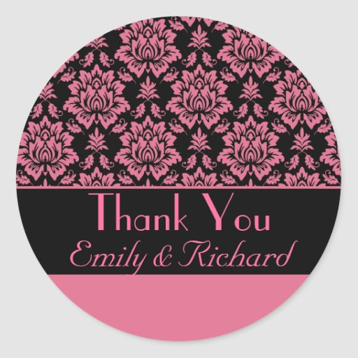 Hot Pink and Black Damask Thank You Sticker