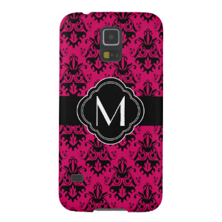 Hot Pink and Black Damask with Monogram Case For Galaxy S5