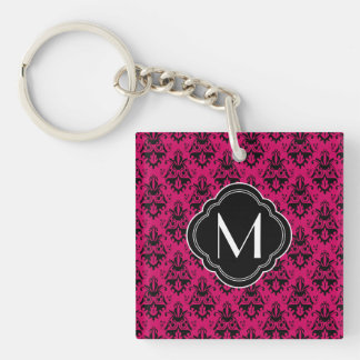 Hot Pink and Black Damask with Monogram Double-Sided Square Acrylic Key Ring