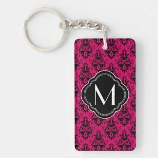 Hot Pink and Black Damask with Monogram Rectangle Acrylic Keychain