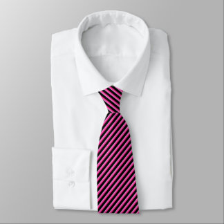 Hot Pink and Black Diagonal Striped Tie